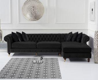 Fusion Fiona Black Velvet Right Facing Chaise Sofa
