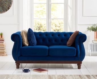 Henbury Chesterfield Blue Plush 2 Seater Sofa