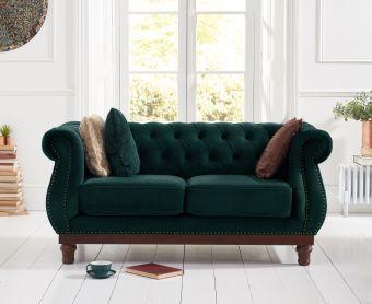 Henbury Chesterfield Green Plush Velvet 2 Seater Sofa