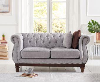Henbury Chesterfield Grey Plush Fabric 2 Seater Sofa