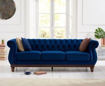 Henbury Chesterfield Blue Plush Velvet 3 Seater Sofa