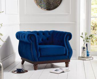 Henbury Chesterfield Blue Plush Velvet Armchair
