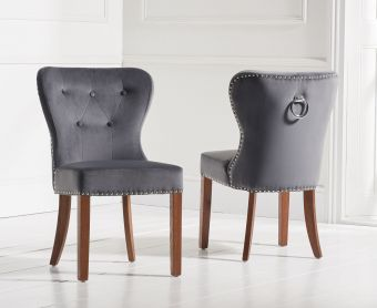 Knightsbridge Studded Grey Plush Dark Oak Leg Dining Chairs (Pairs)