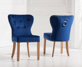 Knightsbridge Studded Blue Velvet Fabric Oak Leg Dining Chairs (Pairs)