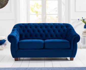 Lacey Chesterfield Blue Plush Velvet Two-Seater Sofa