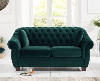 Lacey Chesterfield Green Plush Fabric Two-Seater Sofa