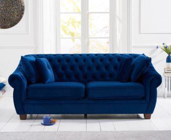 Lacey Chesterfield Blue Plush Velvet Three-Seater Sofa
