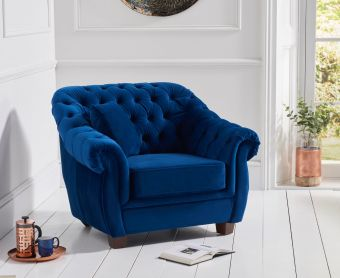 Lacey Chesterfield Blue Plush Fabric Armchair