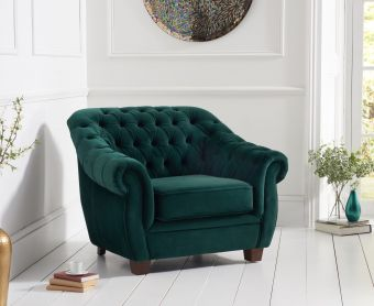 Lacey Chesterfield Green Plush Fabric Armchair