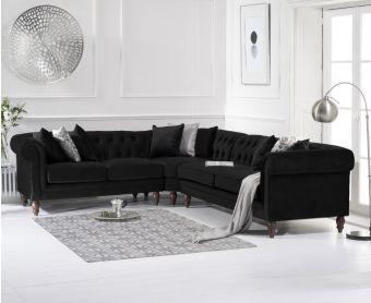 Livi Medium Black Velvet Corner Sofa