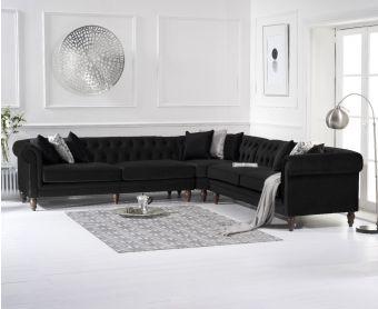 Livi Black Velvet Corner Sofa