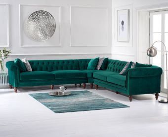 Livi Green Velvet Corner Sofa
