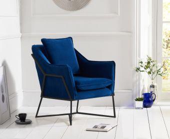 Lillia Blue Velvet Accent Chair with Black Legs