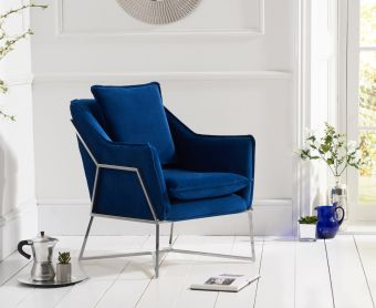Lillia Blue Velvet Accent Chair with Chrome Legs