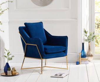 Lillia Blue Velvet Accent Chair