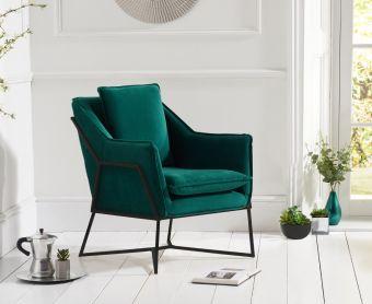Lillia Green Velvet Accent Chair with Black Legs