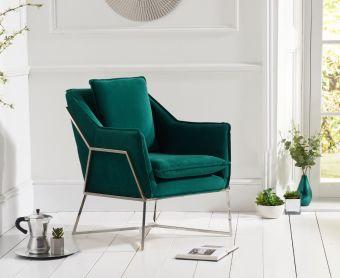 Lillia Green Velvet Accent Chair with Chrome Legs