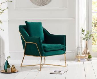 Lillia Green Velvet Accent Chair