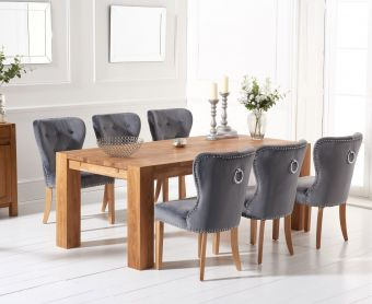 Madrid 200cm Solid Oak Dining Table with Knightsbridge Velvet Chairs