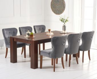 Madrid 200cm Dark Solid Oak Dining Table with Knightsbridge Velvet Chairs