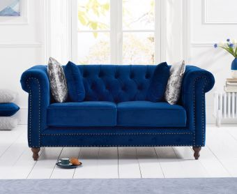Milano Chesterfield Blue Plush 2 Seater Sofa