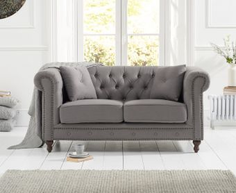 Milano Chesterfield Grey Linen Fabric 2 Seater Sofa