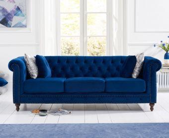 Milano Chesterfield Blue Plush Velvet 3 Seater Sofa