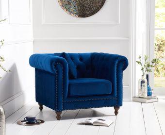Milano Chesterfield Blue Plush Velvet Armchair