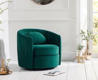 Sadie Green Velvet Swivel Chair