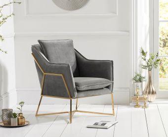 Lillia Grey Velvet Accent Chair