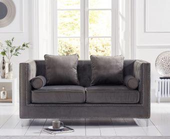 New Jersey Grey Velvet 2 Seater Sofa