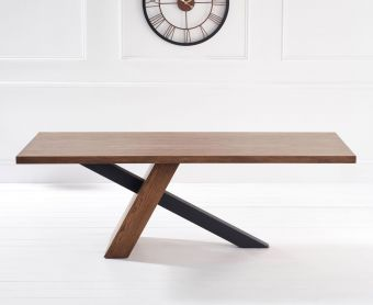 Chateau 225cm Oak and Metal Black Leg Dining Table