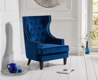 Pamela Blue Velvet Accent Chair