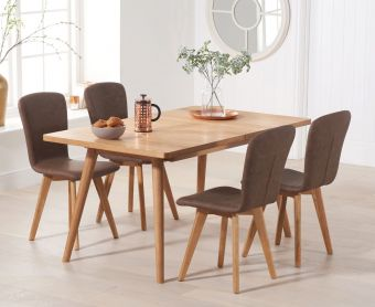 Tivoli 150cm Retro Oak Extending Dining Table with PU Chairs