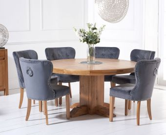 Torino 150cm Solid Oak Round Pedestal Dining Table with Knightsbridge Velvet  Chairs