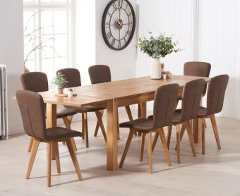 Verona 180cm Extending Solid Oak Table with Tivoli Faux Leather Chairs