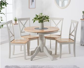 Epsom 90cm Oak and Grey Dining Table with Chairs
