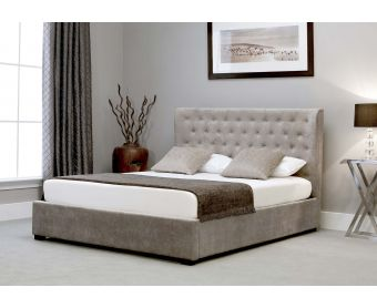 Kensington Wing Stone Fabric Ottoman Super King Size Bed