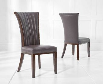 Alpine Brown Leather Dining Chairs (Pairs)