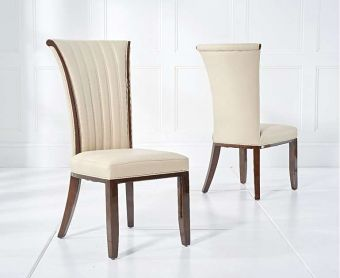 Alpine Cream Leather Dining Chairs (Pairs)