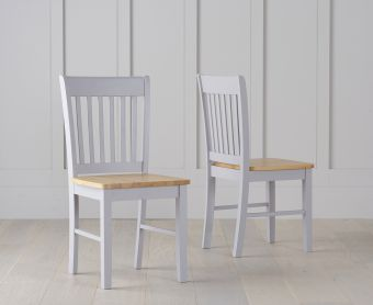 Genoa Oak and Grey Dining Chairs (Pairs)