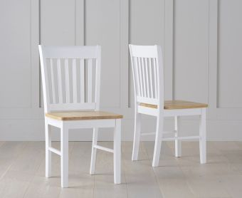 Amalfi Oak and White Dining Chairs (Pairs)