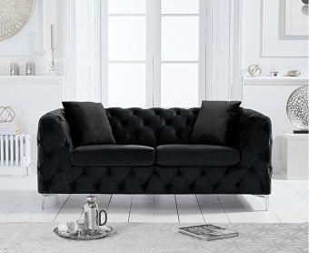 Ariel Black Velvet 2 Seater Sofa
