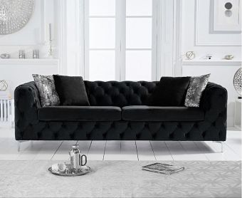 Ariel Black Velvet 3 Seater Sofa
