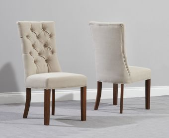 Anais Beige Fabric Dark Oak Leg Dining Chairs (Pairs)