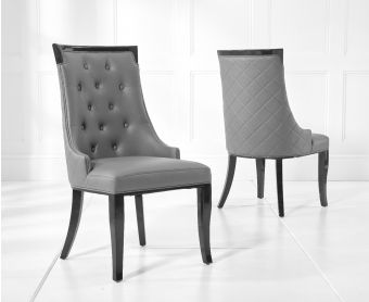 Angelica Grey Faux Leather Dining Chairs (Pairs)
