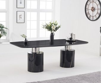 Alona 220cm Black Marble Dining Table