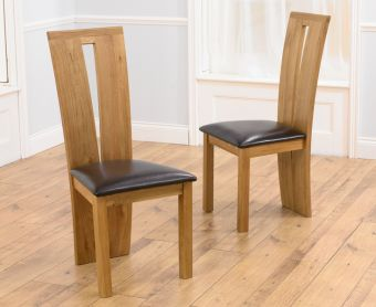 Montreal Solid Oak Brown Dining Chairs (Pairs)