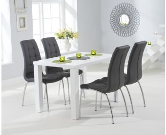 Atlanta 120cm White High Gloss Dining Table with Calgary Chairs