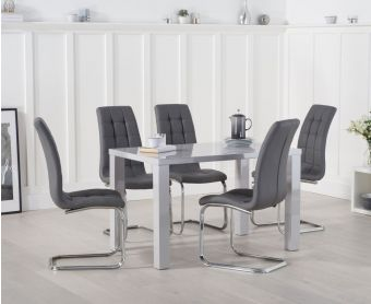 Atlanta 120cm Light Grey High Gloss Dining Table with Lorin Chairs